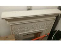 fire surround 3 pieace suite cottage including gas fire and grate needs slight touch up heavy