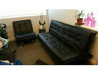 Black faux leather sofa bed 3 seater and 1 seater
