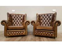 Pair Chesterfield Style Tan Brown Winged High Back Leather Armchairs Studded