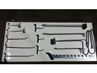 job lot of saltwall hooks, hangers, rails, single bar / double bar. shops fittings. shop equipment