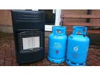 Portable gas heater & 2 empty cylinders