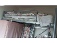 Metal high sleeper bed frame with desk and pink details - £60