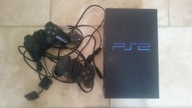 PS2 console with 2 controllers, memory card & leads (+games)