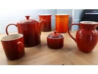 Le creuset tea pot cups sugar pot red