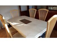 Stunning Hopewell's Beige Dinning Table & Six Chairs, rrp £2500.
