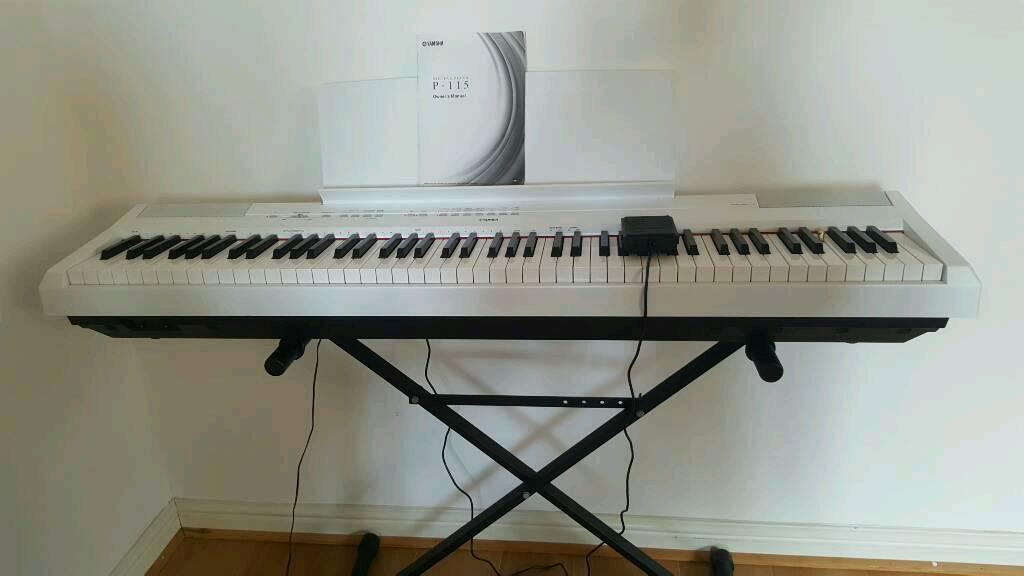 yamaha p115 digital piano white in cardiff gumtree. Black Bedroom Furniture Sets. Home Design Ideas