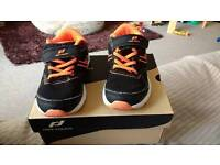 Boys pro touch trainers size 7 black with orange trim
