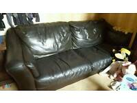 2x black leather settees