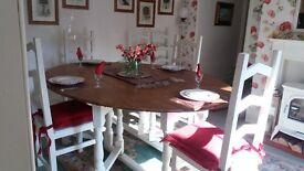 Large Solid Oak Dining Table and Six Chairs
