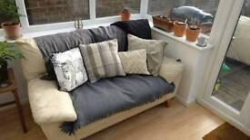 2 x 2 seater cream leather sofa