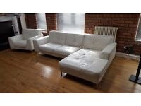 Modern white/cream leather sofa and matching chair