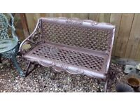 Cast Aluminium / Iron Metal Garden Patio Bench (Seat Chair)