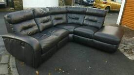 Black leather corner sofa recliner + armchair and footstool