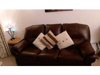 Leather brown sofa 3 seater and matching 2 seater in great condition. Pet and smoke free home.