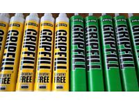 new tubes of gripfill adhesive / glue for wood, brick, plaster etc