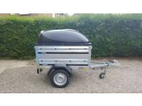 Brenderup 1150s New Car trailer +extension sides +lockable Abs lid-spare wheel included.