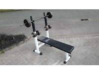 WEIGHTS BENCH WITH 38KG CAST IRON DUMBBELL SET & LONG BARBELL