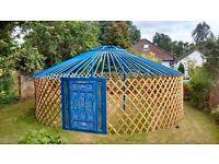 New Blue Lotus Flower Yurt - Authentic Mongolian Yurt - for Glamping or Beautiful Garden Furniture