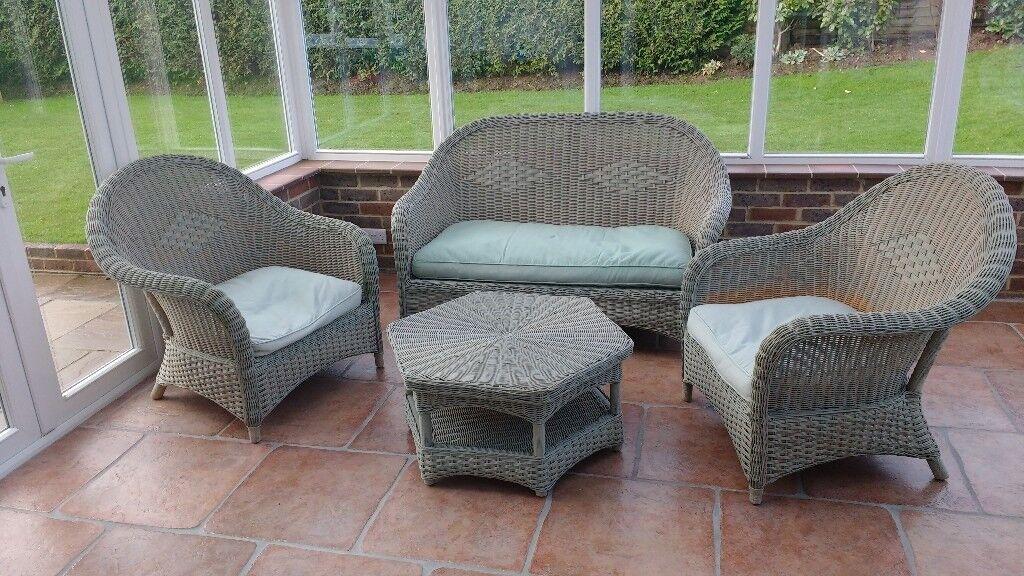 Rattan Wicker 4-piece Conservatory Garden Furniture Set