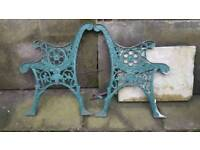 Green cast iron bench ends