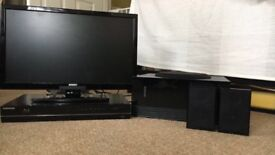 """22"""" Digihome Freeview TV + Samsung smart blu ray player with surround sound subwoofer+speakers"""