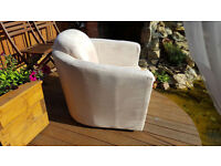 Light cream/beige used fabric armchair very comfy 20.00 price is negotiable