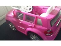 Pink Mercedes Suv Ride in car. 6 Volt, with charger included