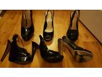 8 pairs of ladies heeled shoes