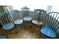 5 solid wood upcycled chairs, £80 ONO for all, happy to sell separately
