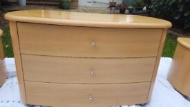 Retro bedside cabinets and dressing table