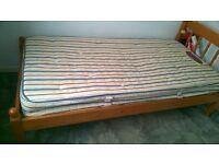 Solid pine single bed & mattress