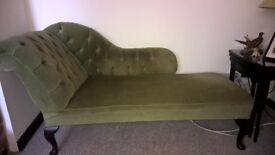 Green Velvet Chaise Longue with dark wooden legs, Very stylish,