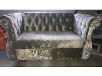 Crushed velvet 2&3 seater chesterfield style sofa