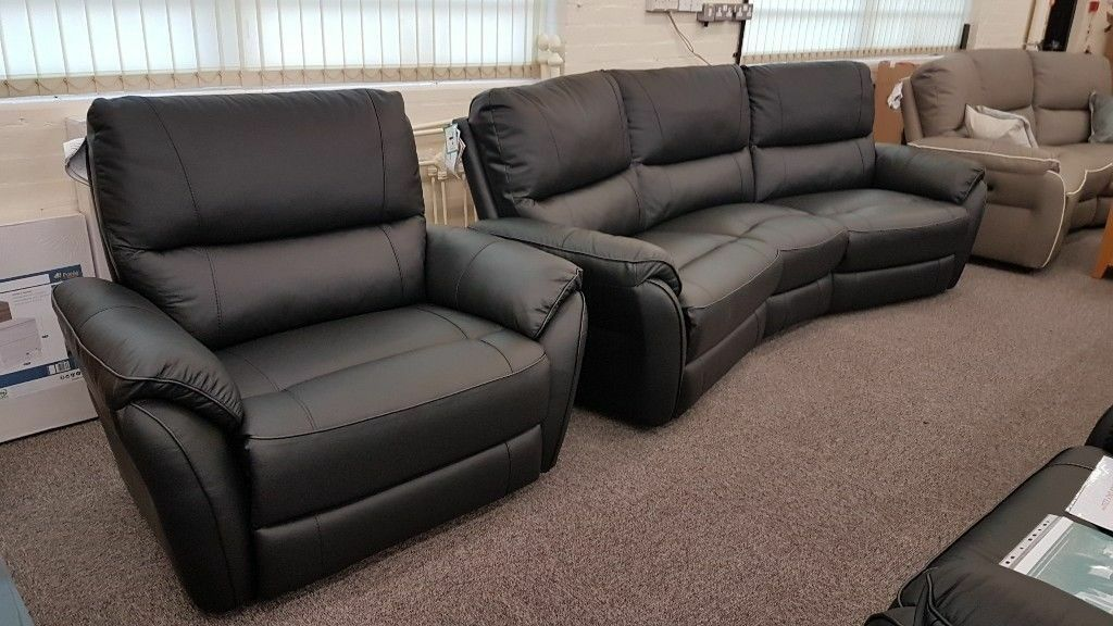 Teo Black Leather 4 Seater Curved Sofa & XL Armchair Can ...