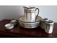 Antique/vintage Art Deco style jug and bowl set with accessories