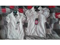 Girls white polo shirts