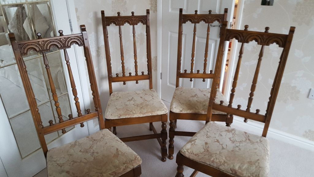ERCOL DINING CHAIRS OLD COLONIAL YORKSHIRE GOLDEN DAWN 2 CARVERS 4