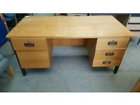 Straight Wooden Office Desk With Drawers Both Sides