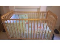 Mothercare Cot Bed with mattress, bedding, baby gym and bouncer