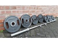 BODYMAX HANDLE GRIP OLYMPIC WEIGHTS SET WITH 6FT BARBELL