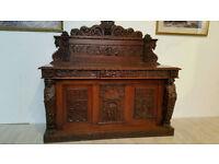 Victorian Neo Gothic Ornately Carved Oak Leaf Holder Sideboard
