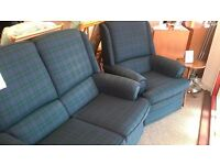 3 piece blue tartan suite