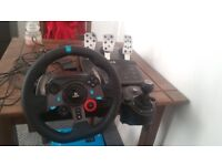 Logitech G29 steering wheel and shifter