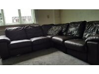 Real leather corner sofa