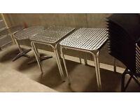 2x Aluminium Square Cafe Table