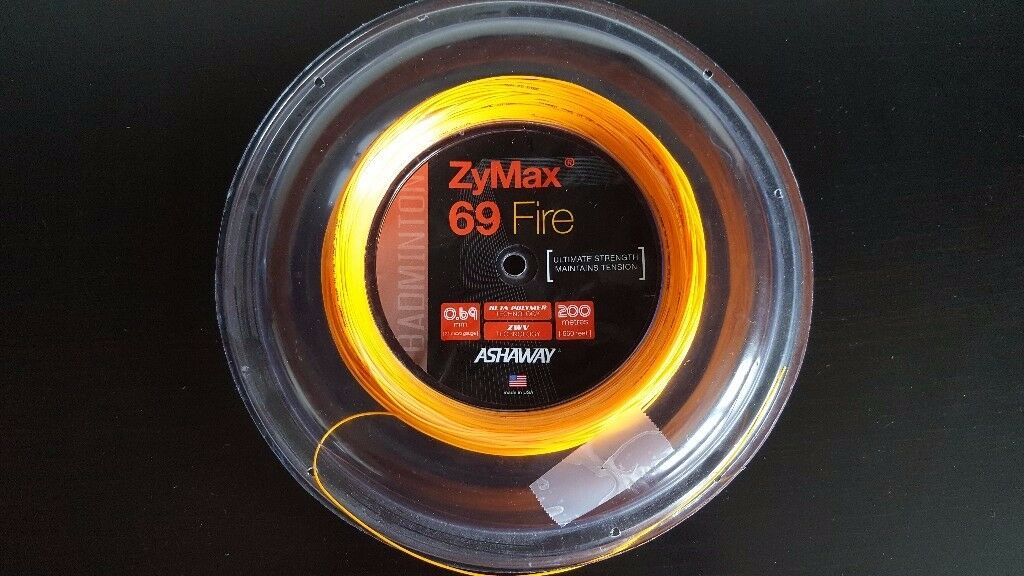 Ashaway ZyMax Fire 69 (Orange) Badminton Racket String (90m Only)