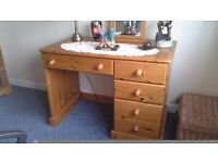 Pine desk/dressing table with drawers