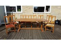 John Lewis Solid Oak dining room table and chairs, seats 8