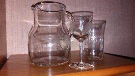 Fine Edwardian glassware: 6 tumblers, water jug and 6 sherry glasses
