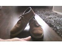 clarks light brown suade boots for sale size 7 and a half.